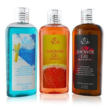 Shower Gel - Moisturizing Body Wash Cleanses, Moisturizes, And Exfoliates Your Skin - Fast Acting Body Wash Ideal for Daily Use on Sensitive Skin - Enriched with Vitamins and Aloe Vera (3 packs)