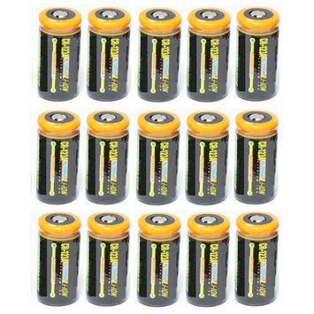 Ultimate Arms Gear 15 Pack CR123A 1200 mAh Lithium Rechargeable Batteries Battery For PANASONIC Video Cameras
