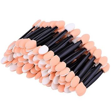 eBoot Disposable Dual Sided Eyeshadow Brush Sponge Tipped Oval Makeup Applicator, 100 Pieces