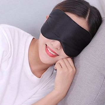 Bhbuy Natural Silk Sleep Mask Sleep Aid Rest Blindfold Eye Mask Shade Cover with Adjustable Strap for Night's Sleeping, Flights, and Travel