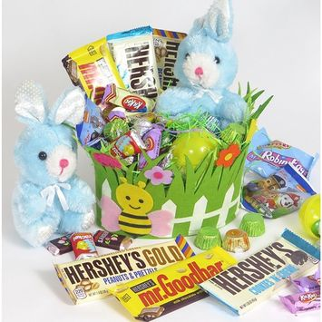 Hearsay's Chocolate Green Easter Basket. Plush bunny is included. Also multi Hersey Bars, , Chocolate kisses, Paw patrol gummy's assorted KIT KAT and mini bars peanut butter cups.