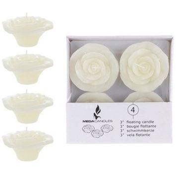 DDI 1996315 4 Piece 3 in. Unscented Floating Flower Candle in White Box - Ivory44; Case of 24