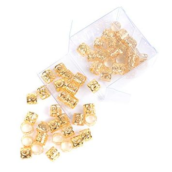 Una Metal Dread Locks Beads (50 Pieces) Fashion Filigree Tube Adjustable Metal Cuffs Braiding Hair Decoration Jewelry