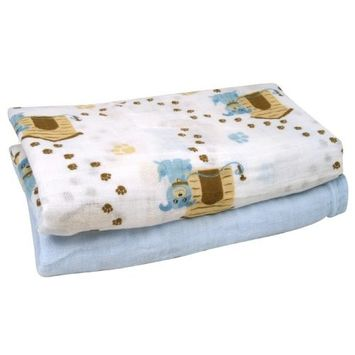 Stephan Baby Cotton Muslin Swaddle Blankets Gift Set, Solid Blue/Dog, 2 Piece