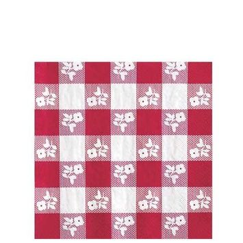 Creative Converting 50 Count Beverage Napkins, Red Gingham