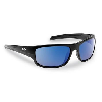 Flying Fisherman Shoal Polarized Sunglasses Matte in Black Frame with Smoke in Blue Mirror Lens