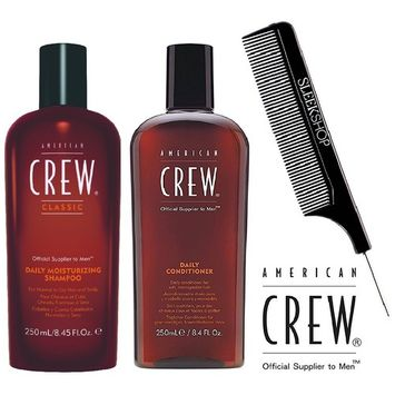 American Crew DAILY MOISTURIZING Shampoo & DAILY Conditioner DUO Set (with Sleek Steel Pin Tail Comb)