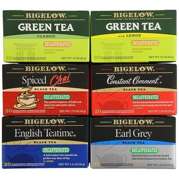 Bigelow Mixed Decaf Teas 120 Count Decaffeinated Individual Green Tea and Black Tea Bags, for Hot or Iced Tea, Plain or Sweetened with Honey or Sugar [Decaf Tea Variety Pack]