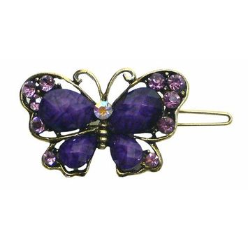 Crystal Butterfly Barrette LPW86250-3purple