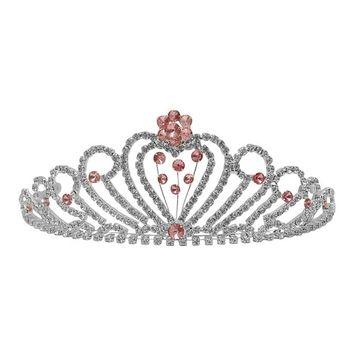 Futuron Girls Silver Pink Flower Heart Shape Rhinestone Tiara Headpiece