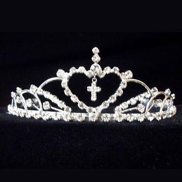 Crystal Rhinestones Heart Cross Communion Flower Girls Tiara