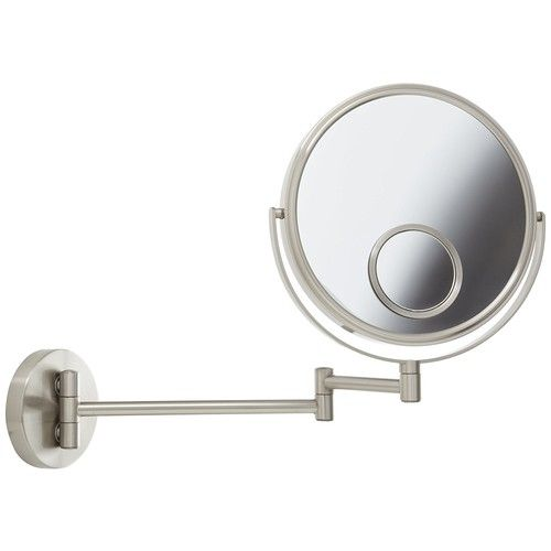 JP7510N 8-Inch Wall Mount Makeup Mirror with 10x and 15x Magnification, Nickel Finish, Wall mount mirror with 13.5-inch extension and nickel.., By Jerdon