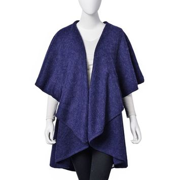 Navy 100% Acrylic Waved Drape Swimsuit Cover-ups Kimono For Women One Size