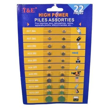 Lot of 30 Assorted Cell Button Battery Watch Calculator, Alkaline, AG3/4/12/13, b/c