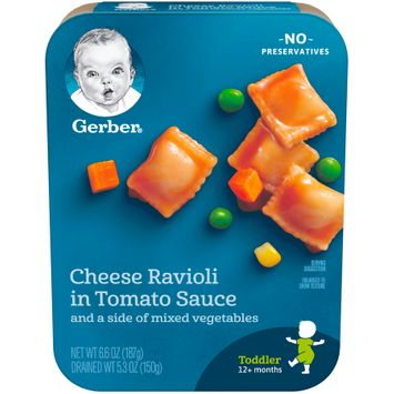 Gerber® Lil' Entrees, Cheese Ravioli in Tomato Sauce with Mixed Vegetables, 6.6oz Tray