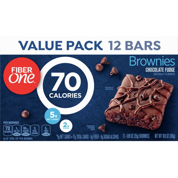 Fiber One Brownies, 90 Calorie Bar, Chocolate Fudge Brownie, 12 Bars, 10.6 oz