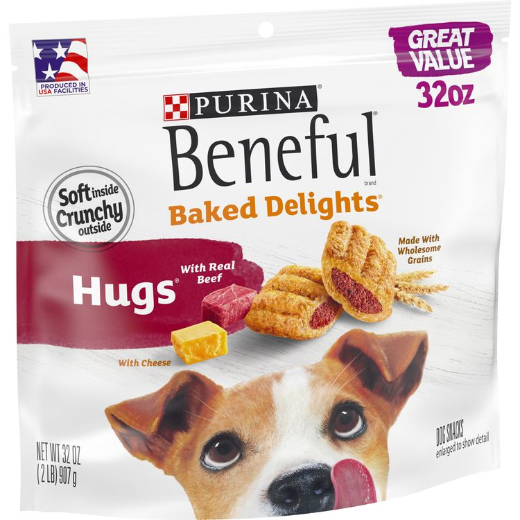 Purina Beneful Made in USA Facilities Dog Treats, Baked Delights Hugs With Real Beef & Cheese - 32 oz. Pouch