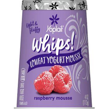 Yoplait Whips Yogurt, Low Fat Yogurt Mousse, Gluten Free, Raspberry Mousse, 4 oz
