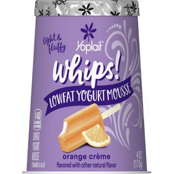 Yoplait Whips Yogurt, Low Fat Yogurt Mousse, Gluten Free, Orange Creme, 4 oz