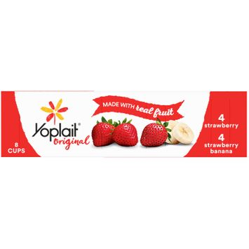 Yoplait, Original Yogurt, Variety Pack, Strawberry & Strawberry Banana, 48oz