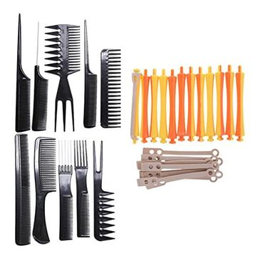 Homyl 10pcs Salon Hairdressing Barber Haircut Hair Styling Design Combs Hair Brush Kit with 12pcs 1.6x9 cm Hair Curling Wavy Perm Rod