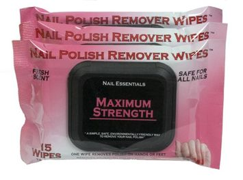 Nail Essentials Nail Polish Remover Wipes - Maximum Strength 3 Pack