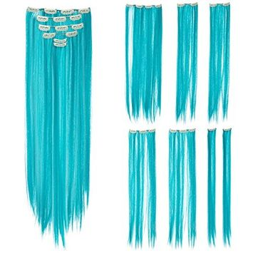 SWACC 7 Pcs Full Head Party Highlights Clip on in Hair Extensions Colored Hair Streak Synthetic Hairpieces