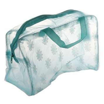 SODIAL(R) Floral Print Transparent Waterproof Cosmetic Bag Toiletry Bathing Pouch Green