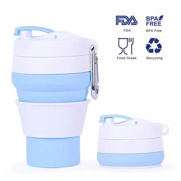 Collapsible Coffee Cup, Reusable Pocket Cup, Silicone Mug, Camping Tumblers, Portable Sport Bottle, Travel Drinking Cup, Dishwasher Safe, 12 fl Oz