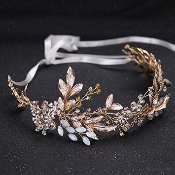 SODIAL Gold Alloy Imitation Crystal Bead Flower Bride Headbands Hair Princess Wedding Hairband Bridal Hairbands Hair Accessories Crown
