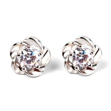 KeyZone Women Girls Silver Plated Flower Crystal Rhinestone Ear Stud Earrings