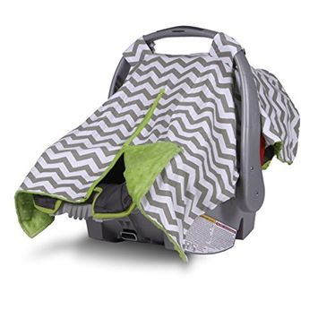 2 in 1 Carseat Canopy and Nursing Cover Up with Peekaboo Opening | Large Infant Car Seat Canopy for Girl or Boy | Best Baby Shower Gift for Breastfeeding Moms | Chevron Pattern with Blue Minky