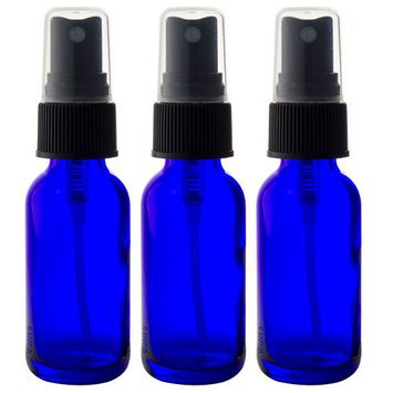 Cobalt Blue Glass Boston Round Spray Mister Bottle Kit - 3 Bottles (1 oz) + Clear Travel Bag and Funnel for Aromatherapy, Essential Oils, DIY, Perfume, Home and Travel