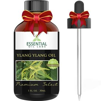 Ylang Ylang Oil - Therapeutic Grade Cananga Odorata - 1 fl. oz with Glass Dropper - Premium Select from Essential Oil Labs