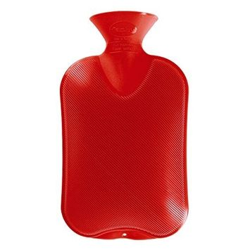 Fashy Classic Rubber Hot Water Bottle Single Ribbed 2.0L, Red-Made in Germany
