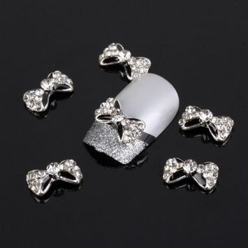 Yesurprise BowKnot clear Silver 10 pieces Silver 3D Alloy Nail Art Slices Glitters DIY Decorations