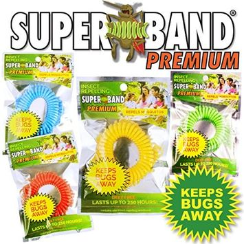 Evergreen New 2017 Insect Repelling SUPERBAND Premium Wristband, Red/Blue/Green/Yellow (Pack of 50)