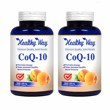Healthy Way Pure CoQ10 400mg per serving - Max Strength - (2 pack) 400 Capsules - High Absorption Coenzyme Q10 Ubiquinone Supplement Pills, Extra Antioxidant for Healthy Blood Pressure & Heart