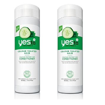 Yes To Cucumber For Colour Treated Hair, Conditioner, 16.9 oz (Pack of 2) + FREE Travel Toothbrush, Color May Vary