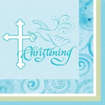 16-Count Christening Beverage Napkins, Blue Faithful Dove Cross