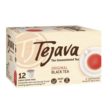 Tejava Original Unsweetened Black Tea Pods, Award-Winning Tea, 100% recyclable Single Serve Cups (12 Pack)