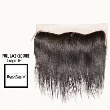 EURO REMY Brazilian Virgin 100% Unprocessed Human Hair Extensions - 13x4 Ear to Ear Lace Frontal Closure Free Part - Straight - 12 inches Natural