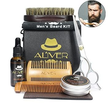 Beard Grooming Kit, 6 PCs Beard Trimming Kit for Men Care-Beard Brush + Beard Comb + Beard Oil Leave-in Conditioner + Mustache Balm + Professional Mustache Scissors for Styling, Shaping & Growth [6 Pcs kit]