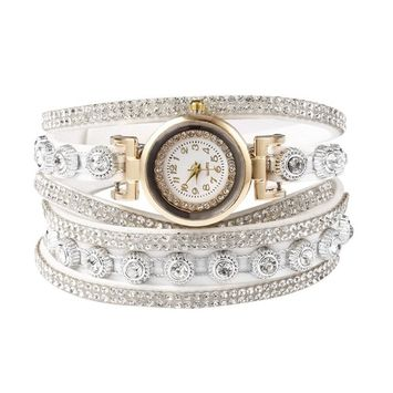 Unbrand - Women Fashion Casual Decor Round Rhinestone Bracelet Watch TOYS2 [name: actual_color value: actual_color-white]