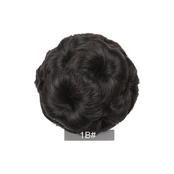 Clearance Sale Elegant 9 Flowers Curly Chignon Bun (3 Different Colors Available) (1B, Dark Brown) Included!