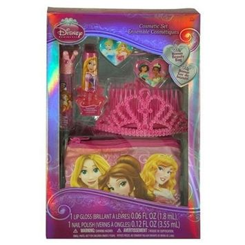 Disney Princess Cosmetic and Hair Kids Girl's Gift Set with Tiara and Beauty Bag