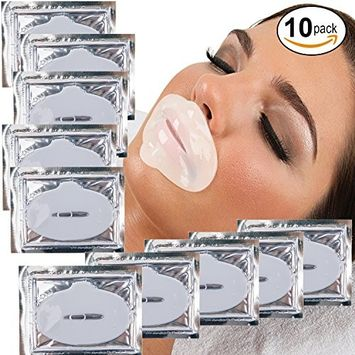 Anti Aging Treatments Set / Kit of 10pcs Lips / Mouth Milk White Collagen Gel Crystal Masks / Patches for Fine Lines and Wrinkles Removal, Moisturizing / Hydration, Skin Firming and Nourishing
