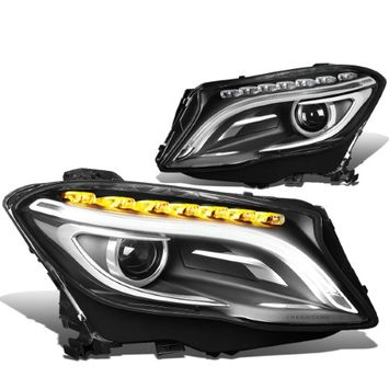 Dna Motoring For 14-17 Mercedes GLA180 / GLA200 / GLA250 / GLA45 AMG Pair of Projector LED Headlights ( Black Housing / Chrome Trim )