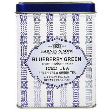 Harney & Sons, Blueberry Green Iced Tea, 6 - 2 Quart Tea Bags, 3 oz (0.11 g) [Flavor : Blueberry Green]