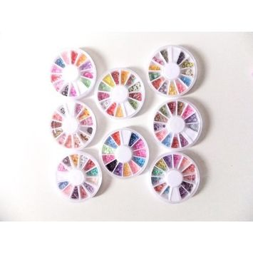 350buy 8 Wheels Combo Set Nail Art Polymer Slices Fimo Decal Pieces Accessories - Butterflies, Bows, Animals, Fruit, Flowers.. etc